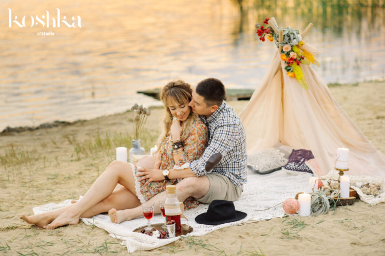 couple tent beach boho style